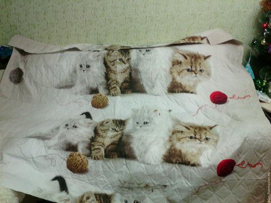 """Текстиль, ковры ручной работы. Ярмарка Мастеров - ручная работа. Купить покрывало """" любимые котята """". Handmade. Комбинированный, для себя"""