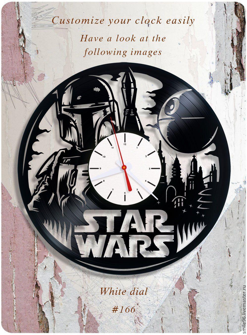 """Часы для дома ручной работы. Ярмарка Мастеров - ручная работа. Купить Часы из пластинки """"Star Wars"""". Handmade. Подарок"""