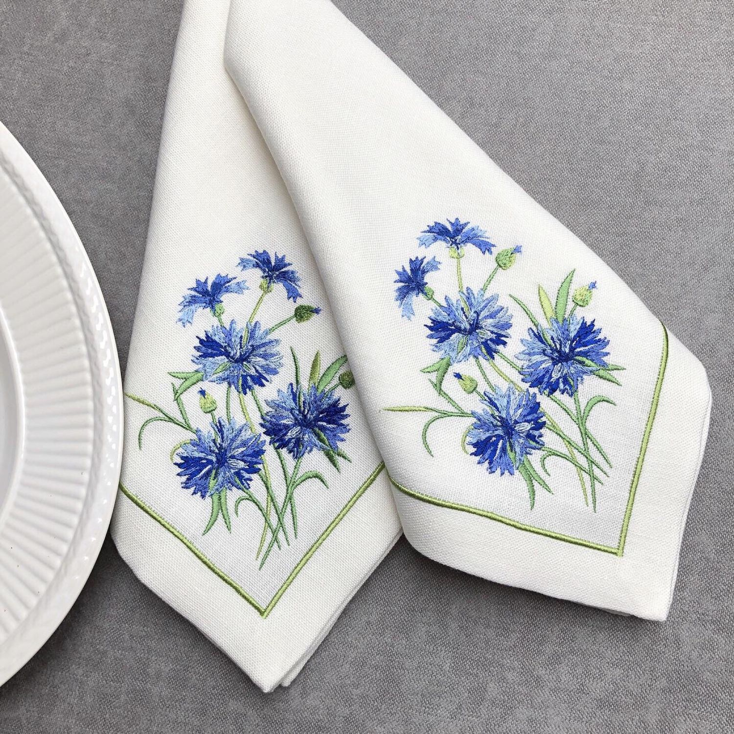 Napkins with embroidered 'Cornflower', Swipe, Moscow,  Фото №1