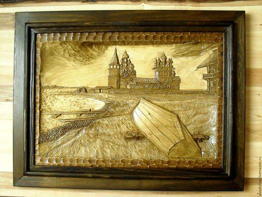 """Пейзаж ручной работы. Ярмарка Мастеров - ручная работа. Купить Картина резная из дерева """"Старая кижанка"""". Handmade. Картина в подарок"""