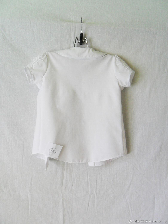 Блузка нарядная для девочки,белая блузка с вышивкой,школьная блузка