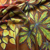 """Аксессуары ручной работы. Ярмарка Мастеров - ручная работа Платок батик """"Осень"""". Handmade."""