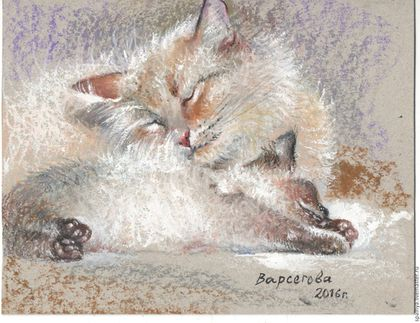 """Животные ручной работы. Ярмарка Мастеров - ручная работа. Купить Картина """"Соньки"""",картина котенок,белый,пушистики. Handmade. Серый"""