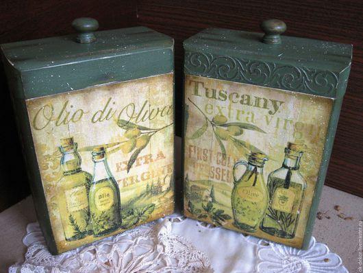 Корзины, коробы ручной работы. Ярмарка Мастеров - ручная работа. Купить Короба для кухни  Olio di Oliva  зеленый  стиль кантри. Handmade.