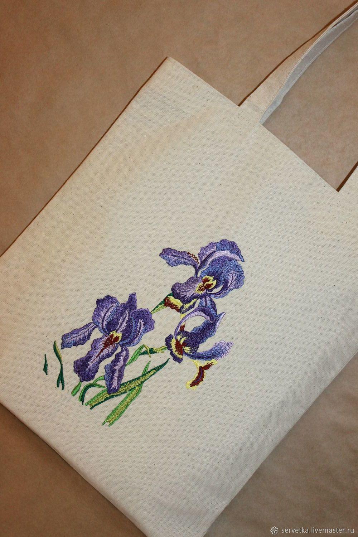 """Сумка """"Ирисы"""" с вышивкой и подкладкой, Классическая сумка, Дубна,  Фото №1"""
