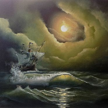 """Картины и панно ручной работы. Ярмарка Мастеров - ручная работа Картина с морем """"Ночной скиталец"""" - картина маслом. Handmade."""
