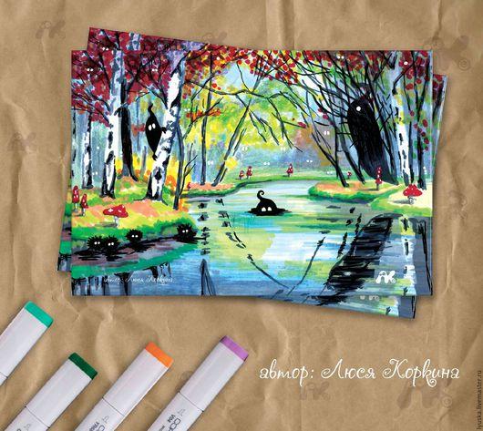 """Открытки на все случаи жизни ручной работы. Ярмарка Мастеров - ручная работа. Купить Авторская почтовая открытка """"Таинственный лес"""" для посткроссинга. Handmade."""