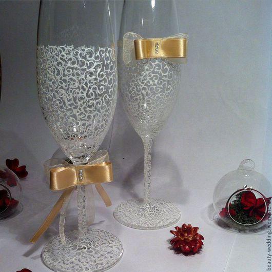 Свадебные аксессуары ручной работы. Купить свадебные бокалы `Нежность`. Handmade