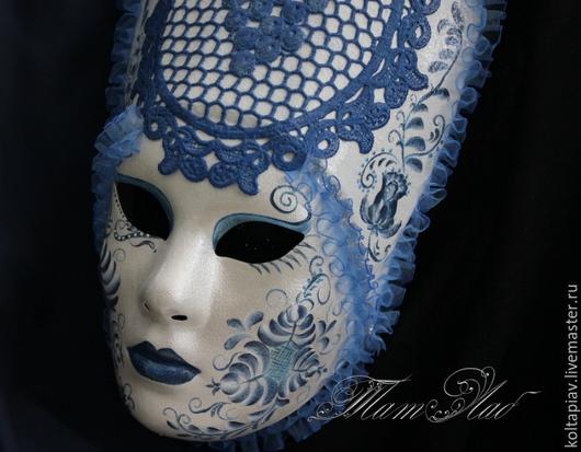 """Интерьерные  маски ручной работы. Ярмарка Мастеров - ручная работа. Купить Венецианская маска """"Руссовольто"""". Handmade. Голубой, интерьер"""