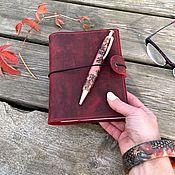 Канцелярские товары handmade. Livemaster - original item Leather notebook with pockets. Handmade.