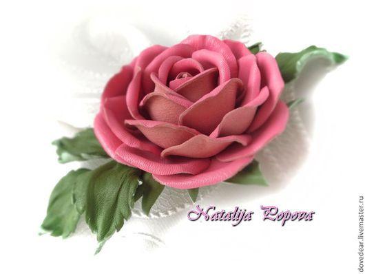 """Броши ручной работы. Ярмарка Мастеров - ручная работа. Купить Брошь из кожи """"НЕЖНОСТЬ"""". Handmade. Розовый, брошь роза"""