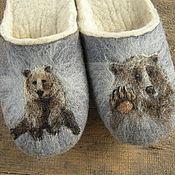 """Обувь ручной работы. Ярмарка Мастеров - ручная работа Тапочки валяные , тапки из войлока, мужские тапочки.""""Медведь"""".. Handmade."""