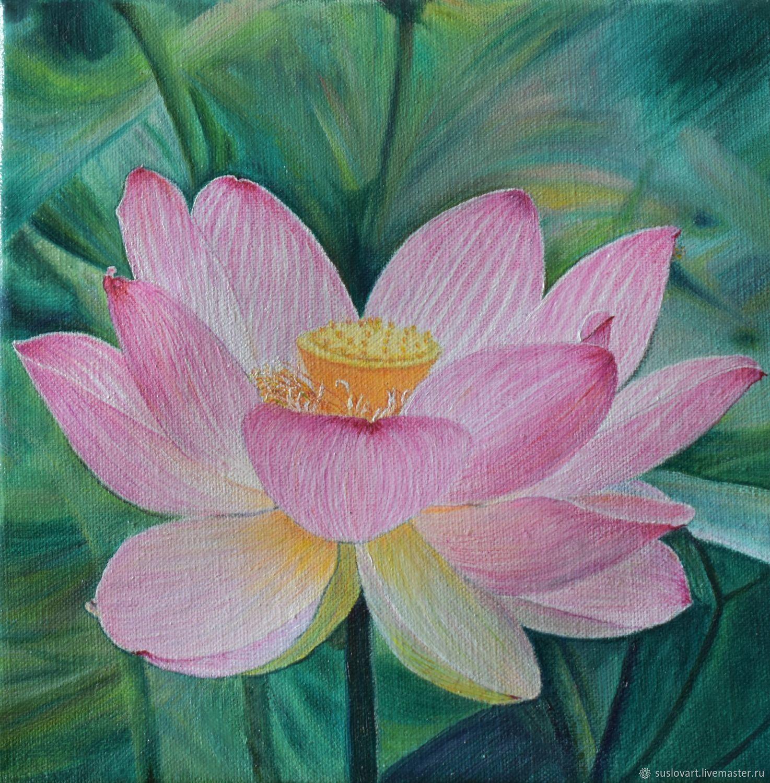 Картина маслом с цветком лотоса, Картины, Москва,  Фото №1
