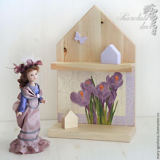 Мебель ручной работы. Ярмарка Мастеров - ручная работа. Купить Полка-домик интерьерная Крокусы + 2 домика. Handmade.