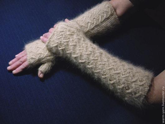 """Варежки, митенки, перчатки ручной работы. Ярмарка Мастеров - ручная работа. Купить Митенки женские длинные из собачьей шерсти """"Зигзаг Удачи"""". Handmade."""