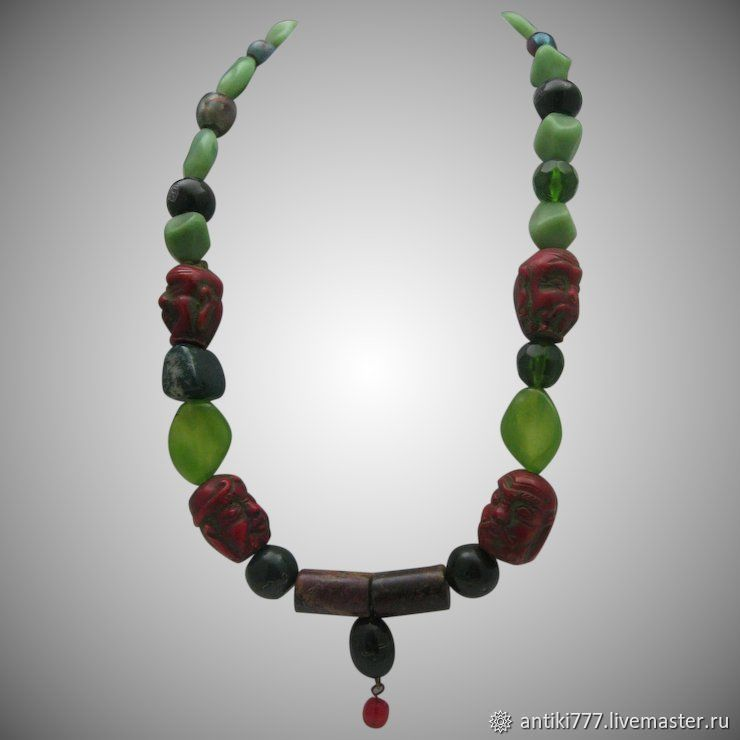 Vintage necklace with cinnabar, Vintage necklace, Moscow,  Фото №1