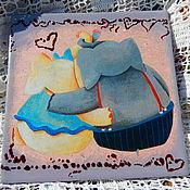 Панно ручной работы. Ярмарка Мастеров - ручная работа Панно: милые слоны. Handmade.