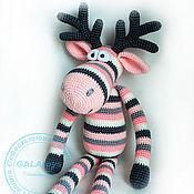 Куклы и игрушки handmade. Livemaster - original item Knitted toy. Pink and grey Elk.. Handmade.