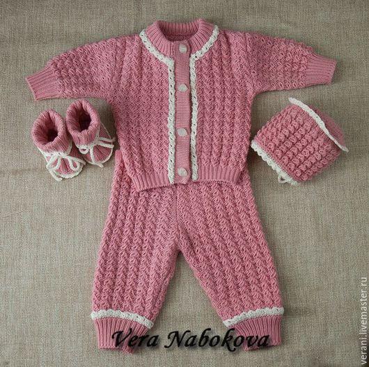 Для новорожденных, ручной работы. Ярмарка Мастеров - ручная работа. Купить Комплект на выписку из шерсти Нежное тепло. Handmade. Розовый