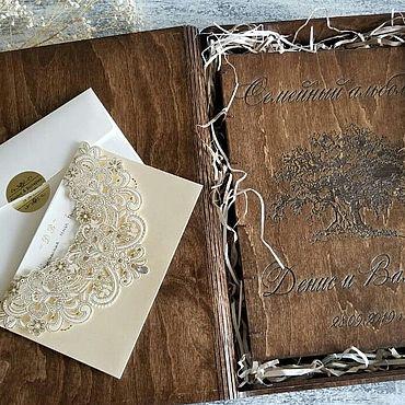 """Свадебный салон ручной работы. Ярмарка Мастеров - ручная работа Свадебный фотоальбом из дерева """"С поздравлением!"""". Handmade."""