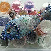 Игольницы ручной работы. Ярмарка Мастеров - ручная работа Игольница Рыбка синяя. Handmade.