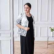 handmade. Livemaster - original item White camomile cotton jacket, black base dress. Handmade.