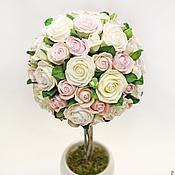 Цветы и флористика ручной работы. Ярмарка Мастеров - ручная работа Топиарий из роз  цветы из полимерной глины. Handmade.