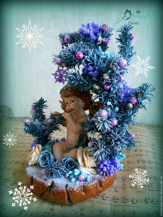 Топиарии ручной работы. Ярмарка Мастеров - ручная работа. Купить Ангел играющий на флейте. Handmade. Морская волна, новогодний сувенир