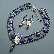 handmade. Livemaster - original item Jewelry sets: Necklace and earrings made of lapis lazuli THISTLE. Handmade.