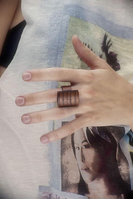 Кольца ручной работы. Ярмарка Мастеров - ручная работа. Купить Перстень прямоугольный. Handmade. Коричневый, кольцо, украшение для девушки