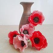 Цветы и флористика ручной работы. Ярмарка Мастеров - ручная работа Шпильки с цветками Мака из полимерной глины. Handmade.