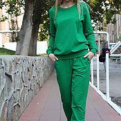 Одежда ручной работы. Ярмарка Мастеров - ручная работа Костюм повседневный зеленый. Handmade.
