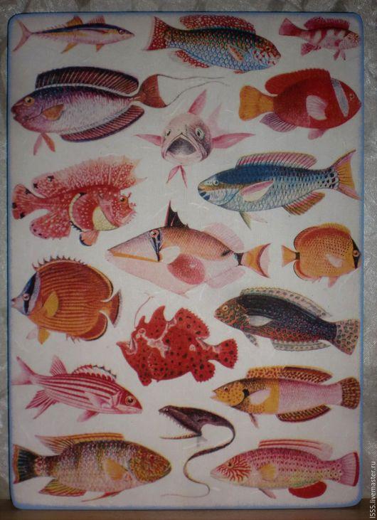 """Кухня ручной работы. Ярмарка Мастеров - ручная работа. Купить """"Коллекция рыбок"""" Разделочная доска панно. Handmade. Комбинированный"""