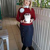 Одежда ручной работы. Ярмарка Мастеров - ручная работа Юбка из шерсти с пуговицами синяя. Handmade.