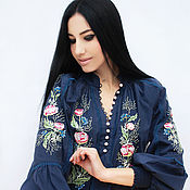 Одежда handmade. Livemaster - original item Luxurious blue blouse with hand embroidery