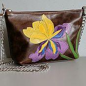 Сумки и аксессуары handmade. Livemaster - original item Mini leather bag for women.Clutch Bag with Iris applique brown. Handmade.