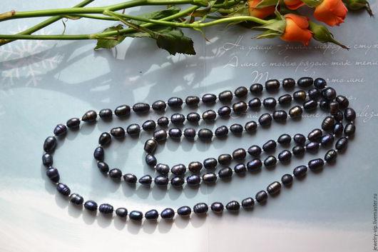 Колье, бусы ручной работы. Ярмарка Мастеров - ручная работа. Купить Длинное ожерелье из черного таитянского жемчуга. Handmade. Жемчуг