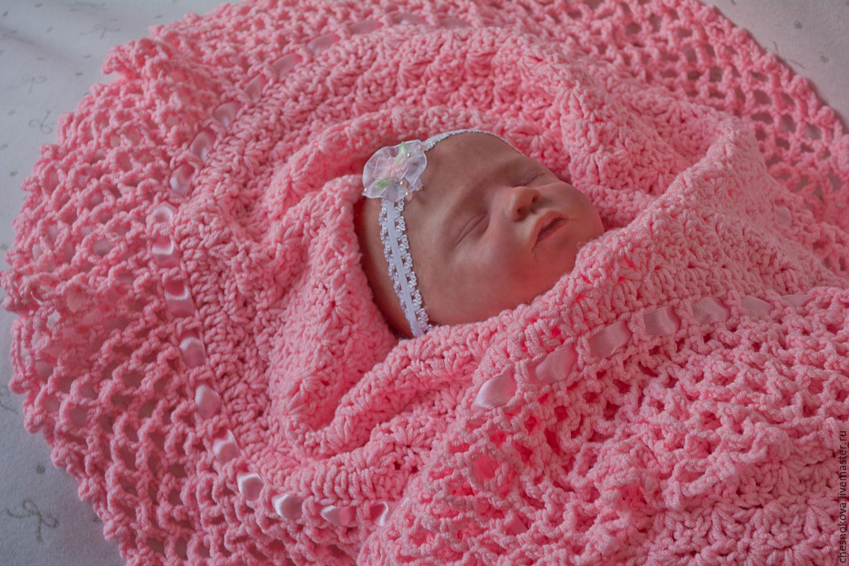 Как вязать своими руками одеяло для новорожденных 23