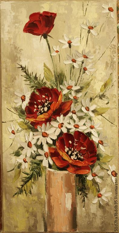 Картины цветов ручной работы. Ярмарка Мастеров - ручная работа. Купить Красное и белое. Handmade. Разноцветный, картина, картина в подарок