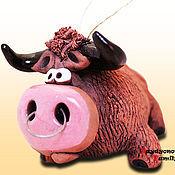 Сувениры и подарки handmade. Livemaster - original item Bison - bison, ceramic bell. Handmade.