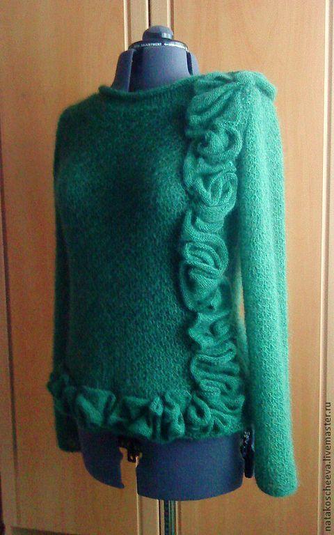 Кофты и свитера ручной работы. Ярмарка Мастеров - ручная работа. Купить Бегущая по волнам. Handmade. Тёмно-зелёный, ажурная кофточка
