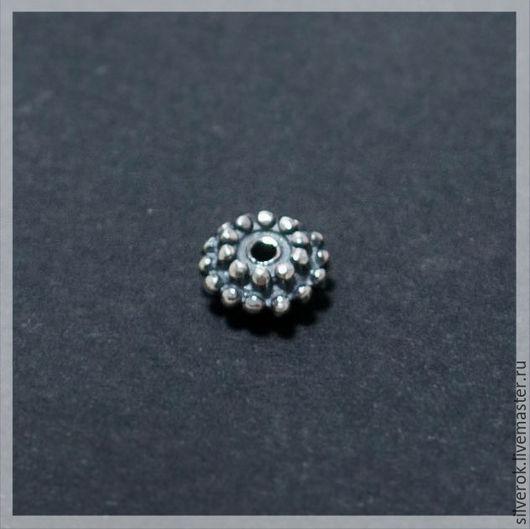 Для украшений ручной работы. Ярмарка Мастеров - ручная работа. Купить Бусина диск   серебро 925 пробы с чернением. Handmade.