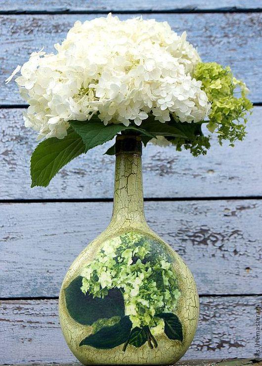 Вазы ручной работы. Ярмарка Мастеров - ручная работа. Купить Бутылочка-ваза  Гортензия. Handmade. Зеленый, для интерьера, рисовая бумага
