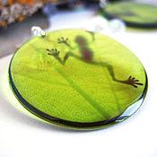 Украшения handmade. Livemaster - original item Transparent Earrings Round Green Frog Rustic Boho. Handmade.