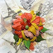 Украшения ручной работы. Ярмарка Мастеров - ручная работа Брошь кожа+ нат.камни Осень в Париже. Handmade.