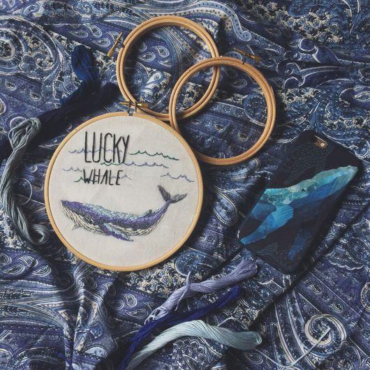 """Животные ручной работы. Ярмарка Мастеров - ручная работа. Купить Голубой кит """"Lucky Whale"""". Handmade. Вышивка, картина, гладь"""