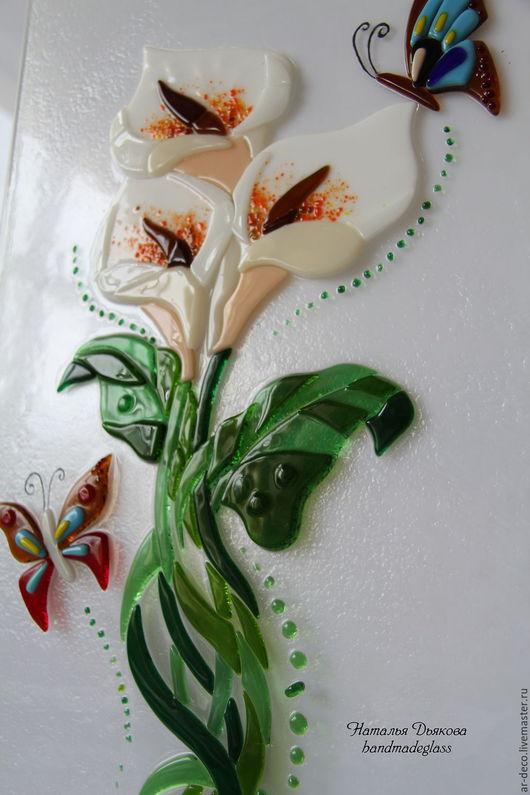 """Элементы интерьера ручной работы. Ярмарка Мастеров - ручная работа. Купить Панно из стекла """"Каллы"""", фьюзинг, 62х30 см. Handmade."""