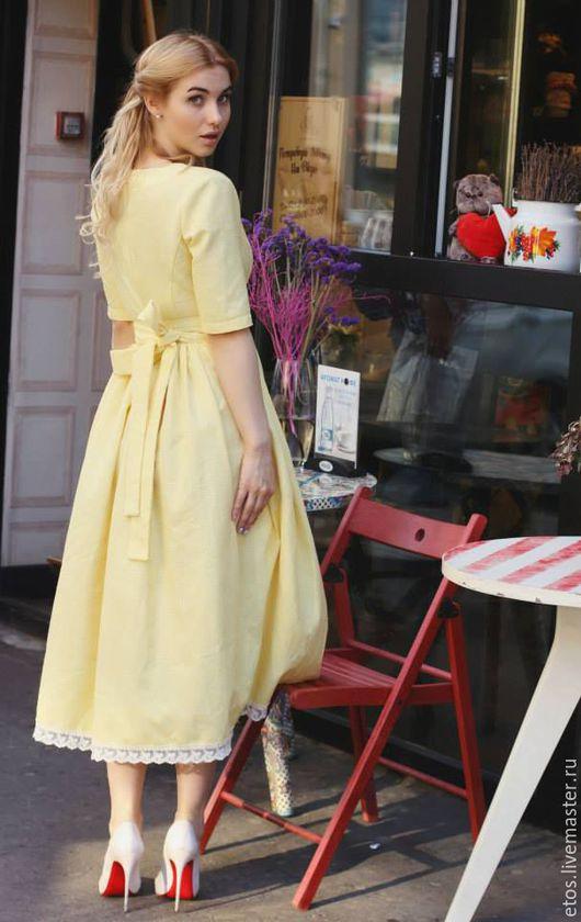 Платья ручной работы. Ярмарка Мастеров - ручная работа. Купить Платье на лето. Handmade. Желтый, Платье нарядное, Плательная ткань