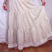 Одежда ручной работы. Ярмарка Мастеров - ручная работа Нижняя юбка из неотбеленного льна Арт.101-б с кружевом. Handmade.