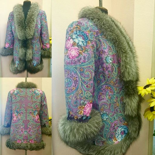 Верхняя одежда ручной работы. Ярмарка Мастеров - ручная работа. Купить Пальто из павловопосадского платка Мечты о счастье с чернобуркой. Handmade.